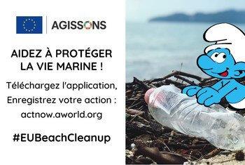 La campagne #EUBeachCleanUp invite les participants à aider à protéger nos plages aux côtés des Schtroumpfs.