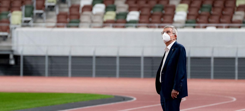 国际奥委会主席巴赫视察东京奥运会开幕式场馆。