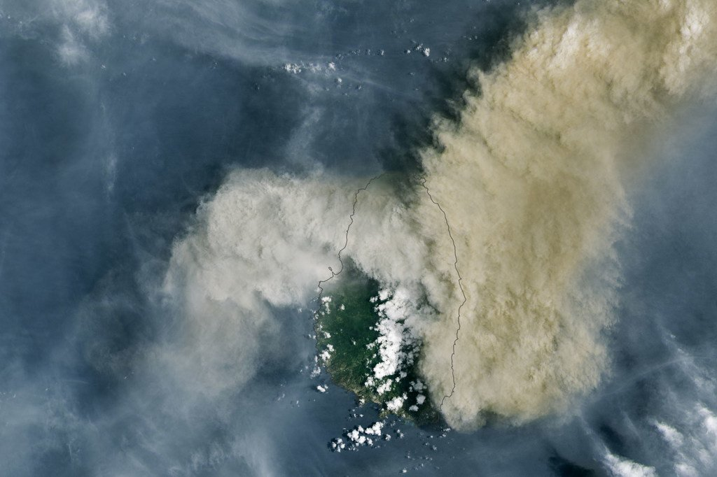 Ash and gas hangs over the Caribbean island of Saint Vincent following a volcanic eruption.