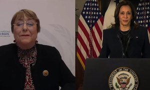 Michelle Bachelet, UN High Commissioner for Human Rights (left); and Kamala Harris, US Vice President (right) address the 65th session of the Commission on the Status of Women. (screenshot)