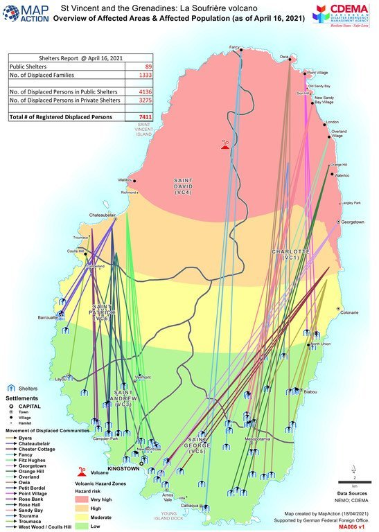 Map showing affected areas and population following the eruptions of the La Soufrière volcano in St. Vincent and Grenadines as of 16 April 16, 2021.