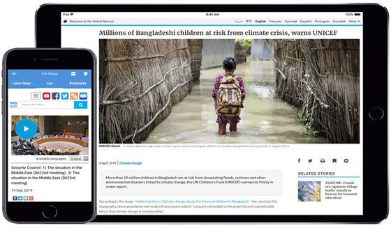 The UN News app is available for Android and iOS devices.