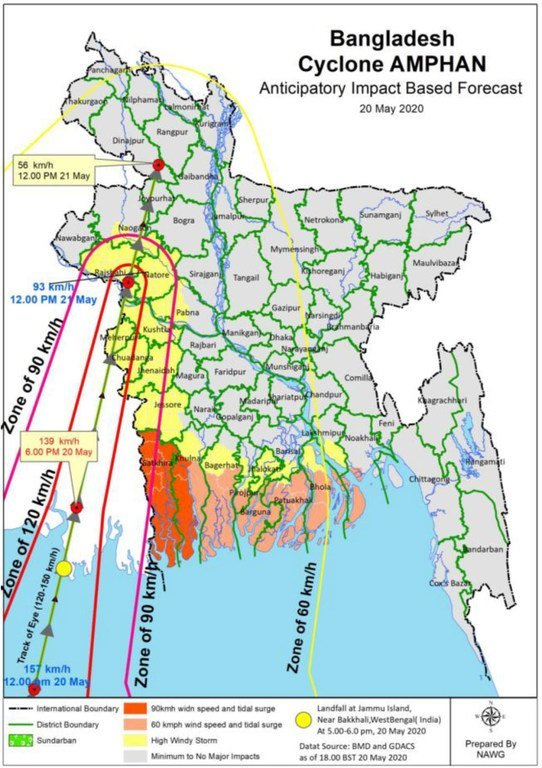 نظرة عامة على الوضع والتأثير المتوقع لإعصار أمفان في بنغلاديش.