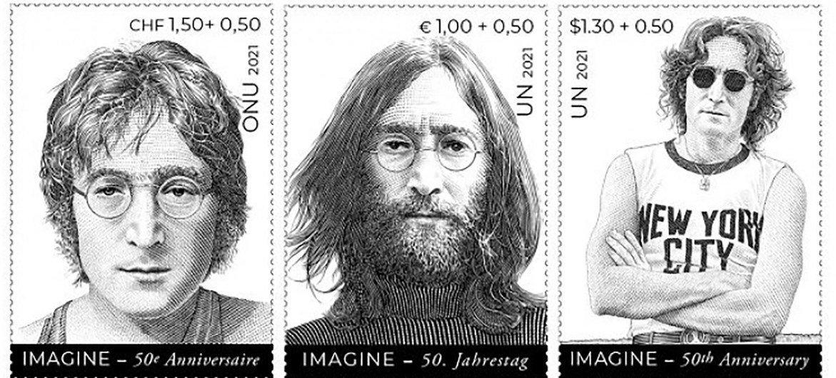 John Lennon, stamps inspiring message of peace.