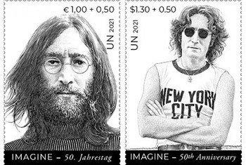 В День мира в ООН презентовали марку с изображеним Джона Леннона