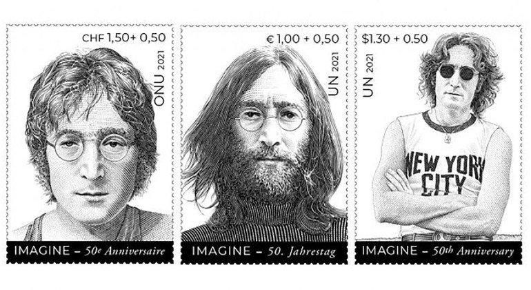 La ONU celebra el Día Internacional de la Paz con una serie de sellos de la estrella del pop John Lennon.
