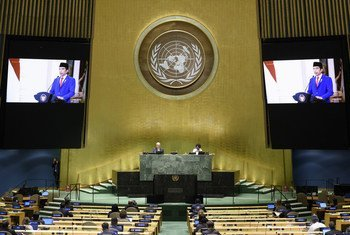 President Joko Widodo (on screen) of Indonesia addresses the general debate of the General Assembly's seventy-fifth session