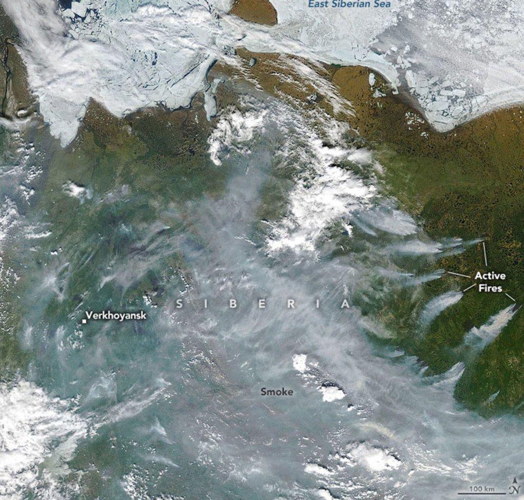 Sur cette image satellite, des feux de forêts affectent une partie de la Sibérie.