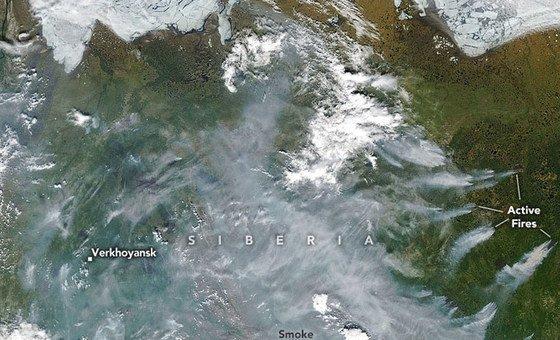 Imagens de satélite, como esta mostrando fogos na Sibéria, estarão disponíveis na nova ferramenta