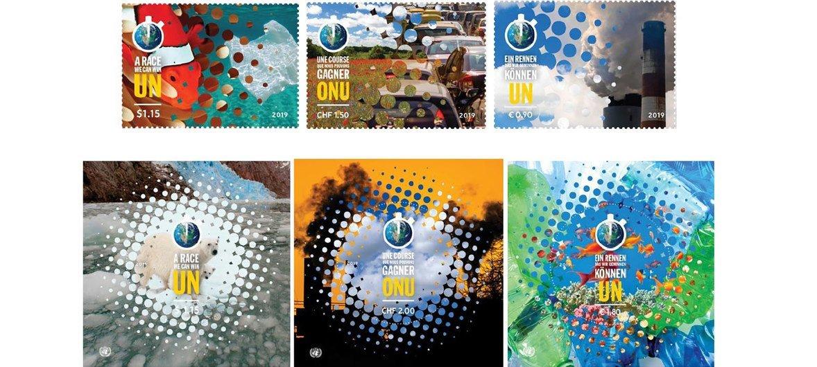 """联合国邮政管理处(UNPA)在联大峰会期间发行了一组主题为""""我们能赢的比赛、我们必须赢得的比赛""""的邮票"""