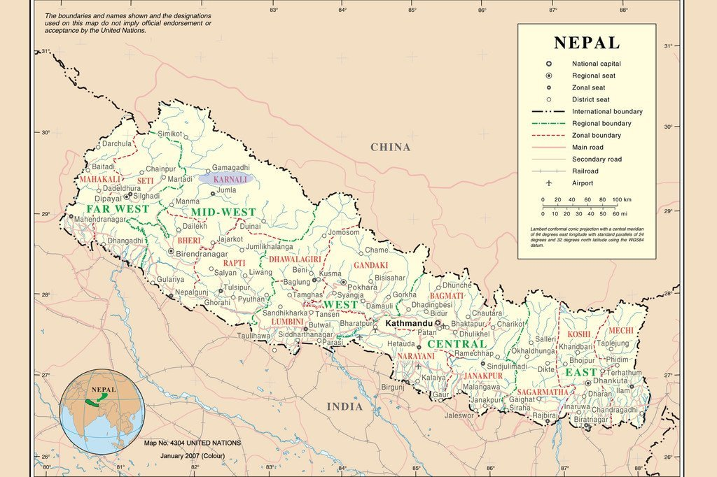 Nepal: Map No. 4304 UNITED NATIONS, January 2007 (Colour)