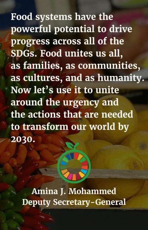 Food systems have the powerful potential to drive progress across all of the SDGs. Food unites us all, as families, as communities, as cultures, and as humanity. Now let's use it to unite around the urgency and the actions that are needed to transform our world by 2030.