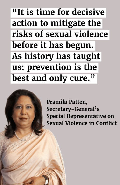 It is time for decisive action to mitigate the risks of sexual violence before it has begun. As history has taught us: prevention is the best and only cure.