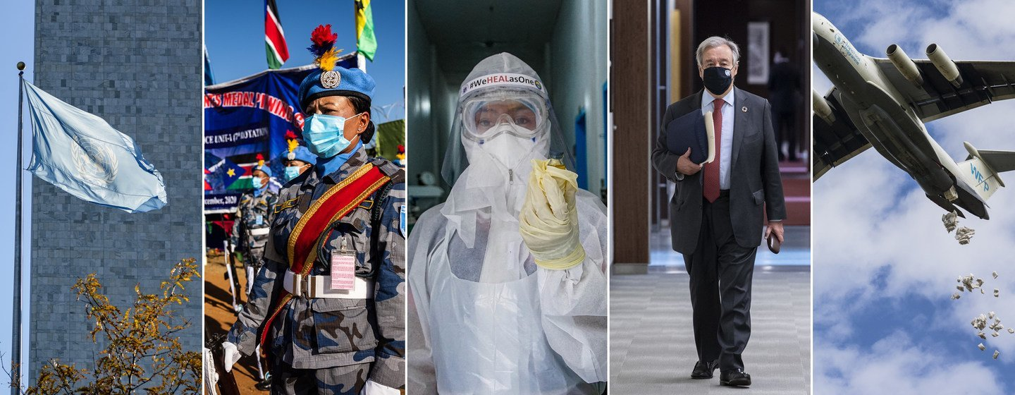 From left: UN flag at the Headquarters, in New York; UN peacekeepers in the field; a health worker prepares a sample for testing; Secretary-General António Guterres on his way to a meeting on the ACT-Accelerator; and a WFP aircraft air-drops sacks of food.