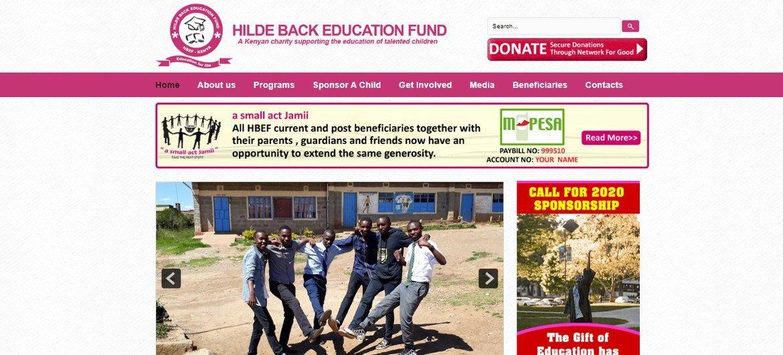 Fondation Hilde Back pour  l'Éducation, une fondation pour aider les enfants au Kenya qui ne peuvent pas se permettre de payer leur scolarité.