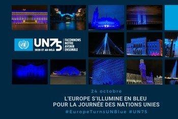 Près de 300 hauts lieux de la démocratie et du patrimoine se sont illuminés de bleu en Europe dans la soirée du 24 octobre pour la Journée des Nations Unies