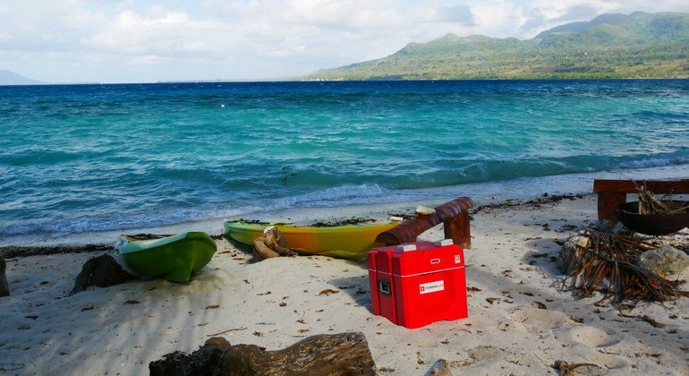 A power cube is readied for transportation to one of the islands in the Vanuatu archipelago.