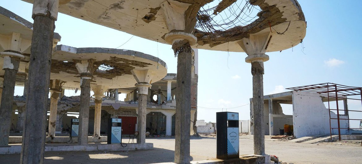 A gas station in the outskirts of Aden destroyed by airstrikes. (file)
