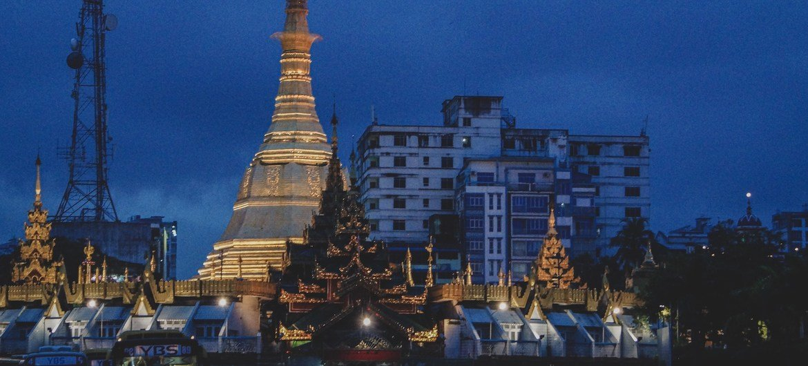 A pagoda at dawn in downtown Yangon, the commercial hub of Myanmar.
