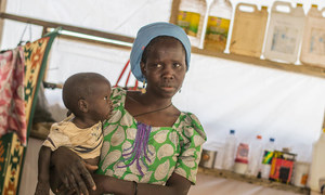 A mother and her baby at Internally Displaced People (IDP) Camp B in Mafa, Borno State, Nigeria.