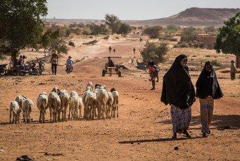 Personas caminando por una carretera en la región de Tillaberi, en el oeste de Níger.