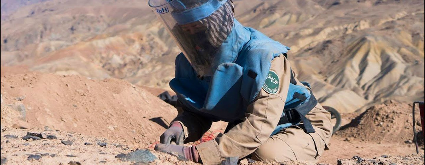 A female deminer at work in Bamyan, Afghanistan.