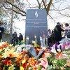 Inauguración de un monumento conmemorativo del genocidio de 1994 contra los Tutsi en Rwanda en la sede de la ONU en Ginebra.