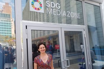Emily Kasriel, editor of the BBC's Crossing Divides web series, stands outside the SDG Media Zone at UN Headquarters in New York during high level week. (26 September 2019)