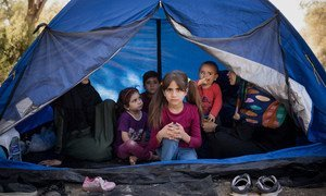 A Syrian family from Idlib who have recently arrived in Lesvos, Greece, take shelter in an olive grove adjacent to Moria reception centre. (23 September 2019)