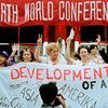 Participants from civil society groups rally on the sidelines of the United Nations Fourth World Conference on Women held in Beijing, China in September 1995.