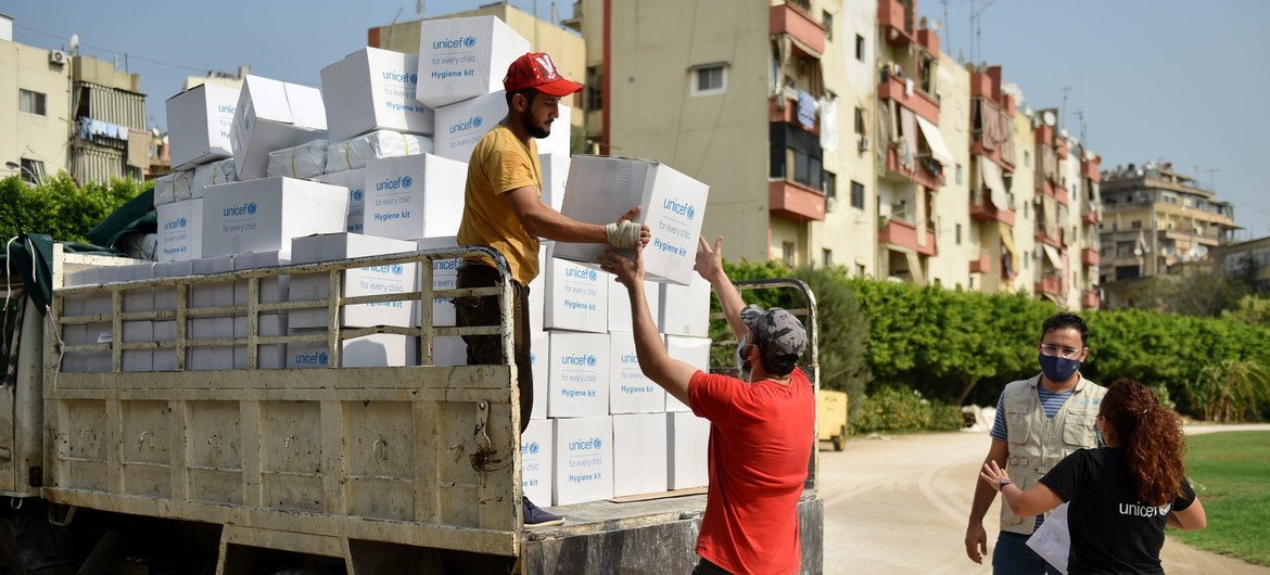Personal care kits are distributed to families affected by the Beirut port explosion in Lebanon. (file)