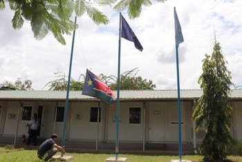 Flags remain at half-mast outside IOM South Sudan's office in Juba