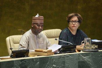"""رحب السيد تيجاني باندي، رئيس الجمعية العامة بتقرير مجلس حقوق الإنسان التابع للأمم المتحدة وقال إنه """"يعبد الطريق للحوار التفاعلي حوله بين الدول الأعضاء"""" 1 نوفمبر/تشيرن الثاني 2019"""