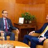 Geir O. Pedersen, United Nations Special Envoy for Syria, meets Hadi AlBhara, Opposition Co-Chair, prior to the meeting of the Syrian Constitutional Committee starting on 30 October 2019,.