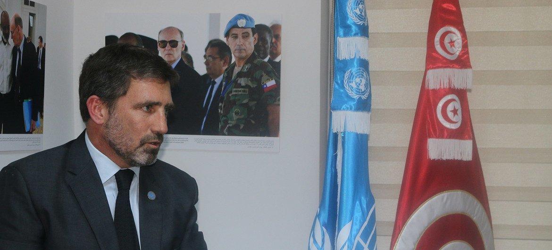 Le Coordonnateur résident des Nations Unies en Tunisie, Diego Zorrilla, lors de l'hommage rendu à Hédi Annabi, décédé en 2010 en Haïti.
