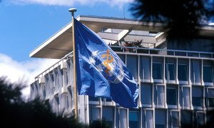 The flag of the UN World Health Organization (WHO) flies at its headquarters in Geneva, Switzerland.