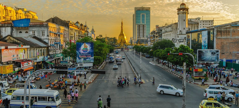 म्याँमार में यंगून शहर का एक दृश्य.