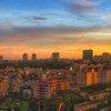 Vue sur la ville de Yangon, au Myanmar, au coucher du soleil.