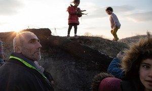 2月29日晚,一个叙利亚家庭正在土耳其与希腊边境地带的强风中努力生火,准备过夜。几名儿童正在拣拾柴火。此前,他们试图从土耳其埃迪尔内过境前往希腊,但未能成功。