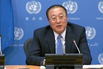 مندوب الصين الدائم لدى الأمم المتحدة في مؤتمر صحفي بمناسبة تسلم بلاده رئاسة مجلس الأمن