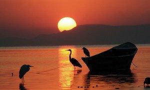 Sun rises in Chapala Lake, Mexico.