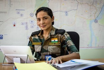 दक्षिण सूडान के यूएन मिशन में शान्तिरक्षक के तौर पर सेवारत, मेजर बिन्देश्वरी तँवर.