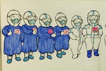 武汉体育中心方舱医院一位患者在接受治疗期间为医护人员绘制的卡通画