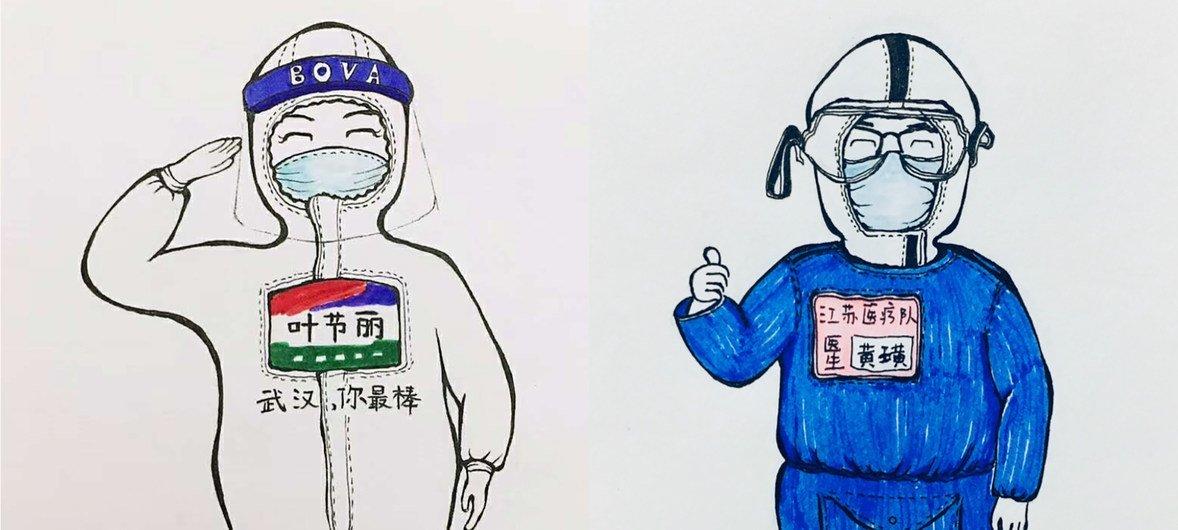 Desenho feito por um paciente da covid-19 em um hospital de Wuhan, na China