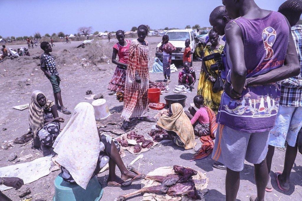 南苏丹皮博尔镇的市场。
