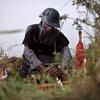 कॉंगो लोकतांत्रिक गणराज्य में बारूदी सुरंग हटाने की ट्रेनिंग लेते हुए एक कर्मचारी.