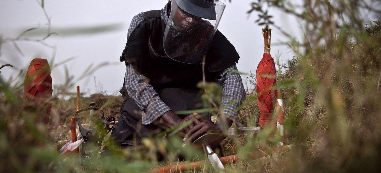 A deminer undergoing training in the Democratic Republic of the Congo.