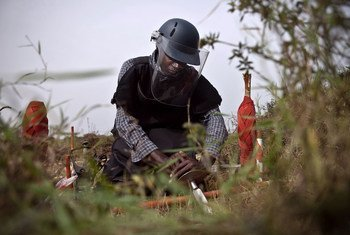 A deminer at work in the Democratic Republic of the Congo.