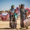 Família deslocada devido ao conflito no Iêmen. Muitos dos afetados já abandonaram suas casas duas, três e quatro vezes