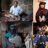 خمس قصص غيرت حياة أصحابها بسبب الحرب .. باتجاه عقارب الساعة: أحمد، إسكافي من تعز. نوال، قابلة من الحديدة. أحمد، طاهٍ وصاحب مطعم من الحديدة. روضة، خياطة من تعز. رانيا، معلمة من الحديدة.